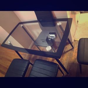 Glass Dining Table with 4 Chairs for Sale